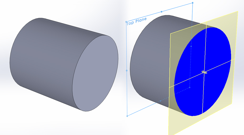 """This cross-section of a solid model shows that nomatter where we slice, there will be """"material"""". The model is considered to be an actual volume."""