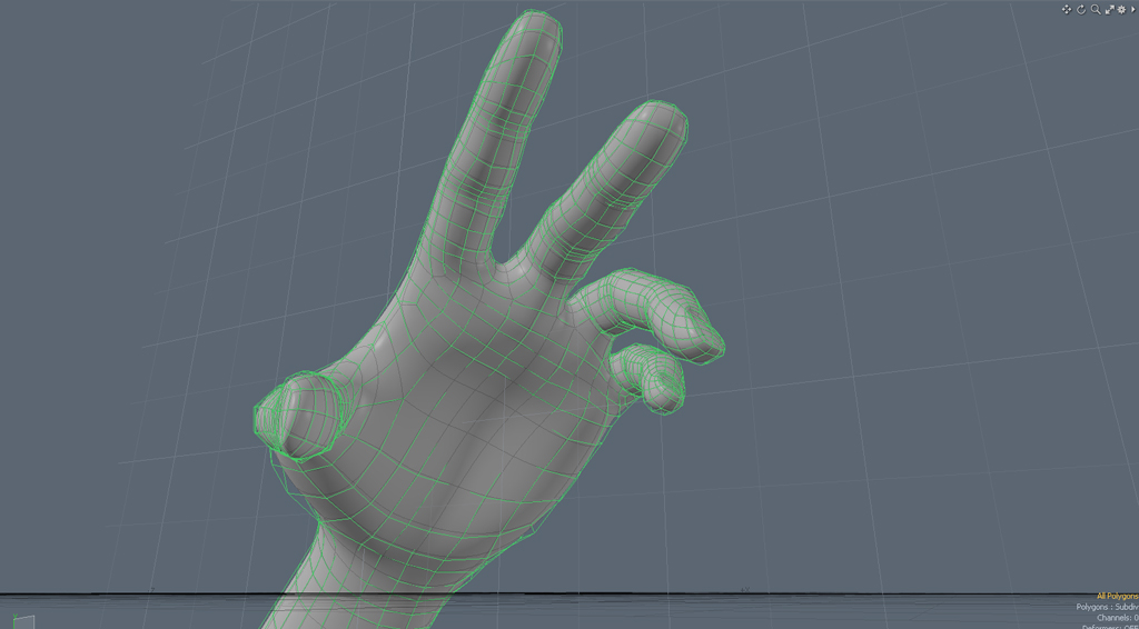 """This model has the same level of smoothness, but it is """"virtual"""" and broken into larger chunks that are easier to work with. The green lines are the low polygon """"control cage""""."""